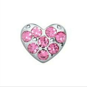 Origami Owl Pink Pave Heart Charm